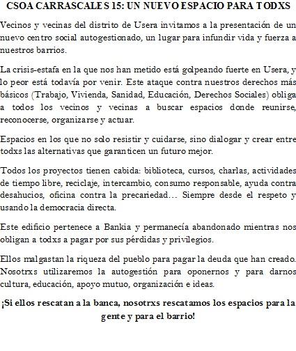Comunicado de Carrascales 15 a los barrios de Usera